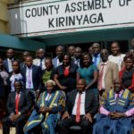 Members of the County Assembly with the Senator (extreme left)after his address