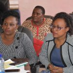 From left, Hon. Joylisa Wangerwe, Hon. Anne Kariuki and Hon. Beatrice Mitaru during the Sectoral Committee on Medical Services, Public Health and Sanitation Meeting.