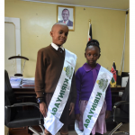 Kenya's Ambassadors to the Future Aerial Kihara and Joan Nyawira Karani during a visit to the County Assembly.