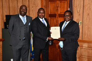 The Speaker Hon. Anthony Gathumbi & The Clerk of the County Assembly Mr. Kamau Aidi (Left) presents to the Speaker of the Senate Hon. Kenneth Lusaka a Certificate of Approval of the Constitution of Kenya (Amendment) Bill, 2020. The County Assembly considered and unanimously approved the  Constitution of Kenya (Amendment)Bill, 2020 dubbed BBI on Tuesday 23rd February 2021.